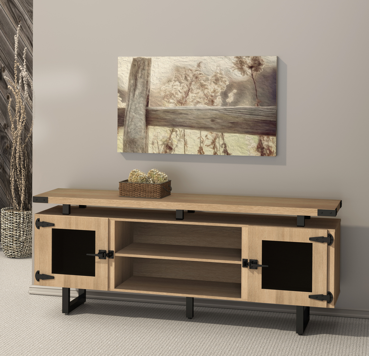 mirella low wall cabinet with sand dune finish and black accent trim
