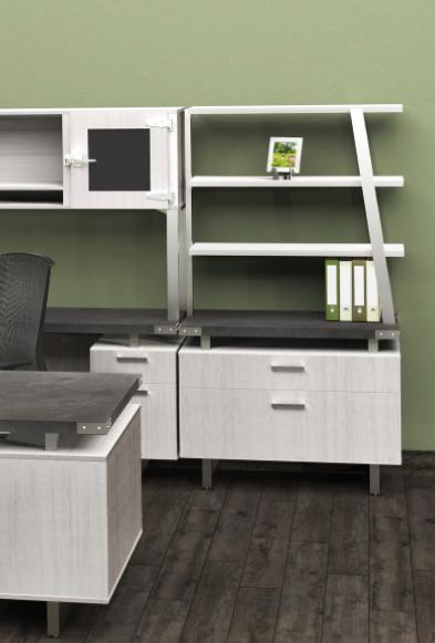 white ash mirella bookcase atop lateral file cabinet