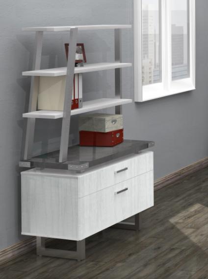 white ash mirella bookcase used atop lateral file cabinet