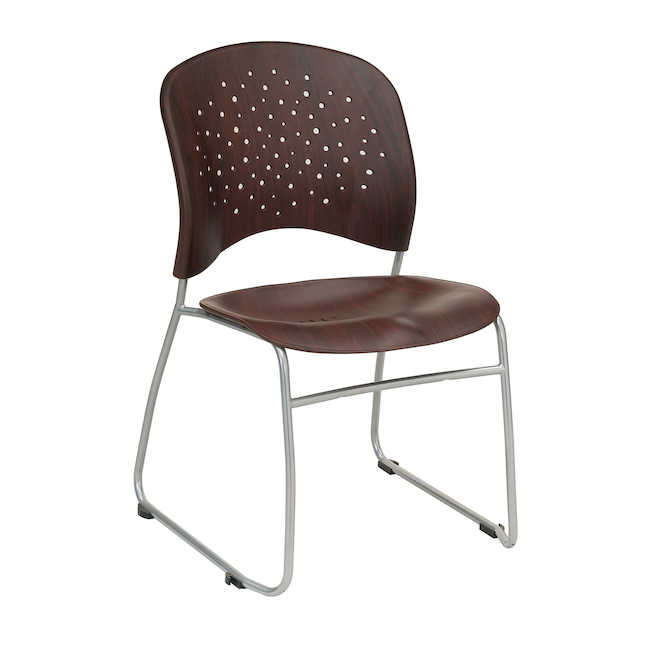 safco reve plastic wood guest chair in mahogany