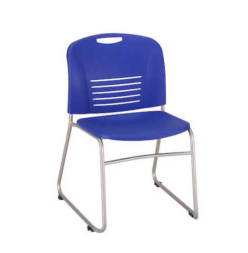 safco vy sled base stack chair 4292 in blue