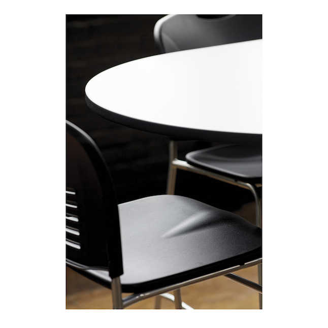 safco vy stool at table