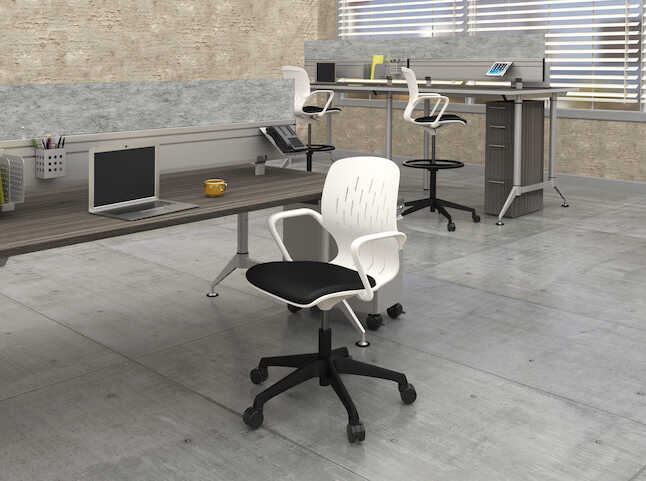 safco shell desk chair in workplace setting