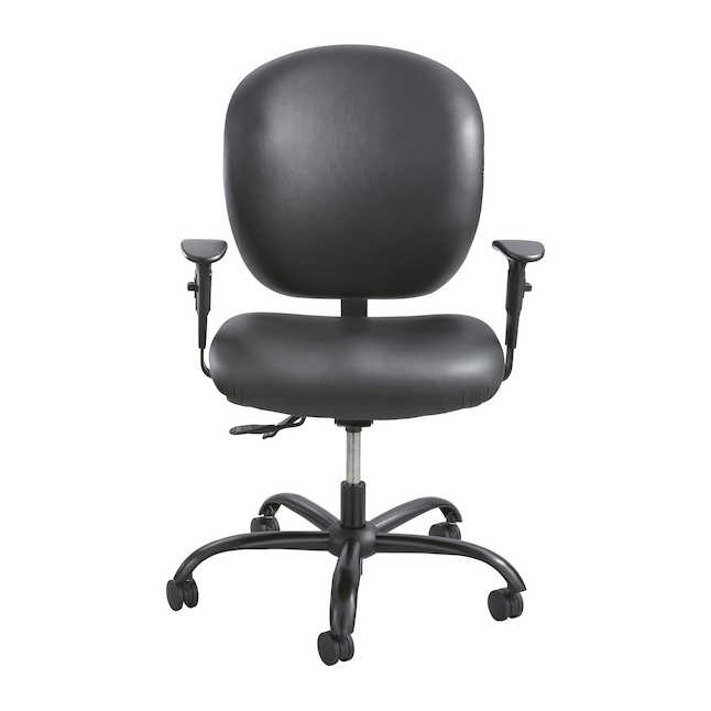 safco alday black vinyl office chair with arms