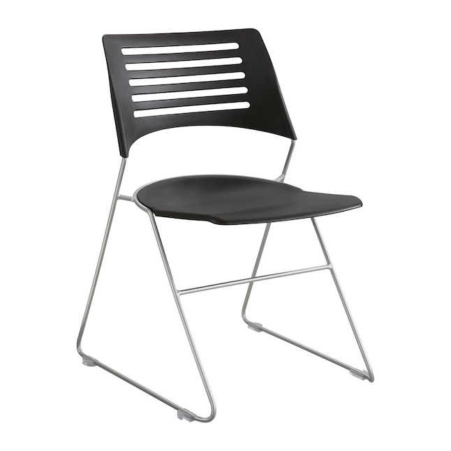 safco pique black plastic stack chair 4289