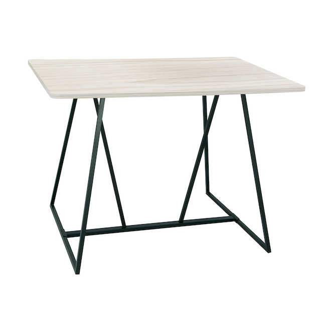 safco oasis standing height teaming table in weathered white