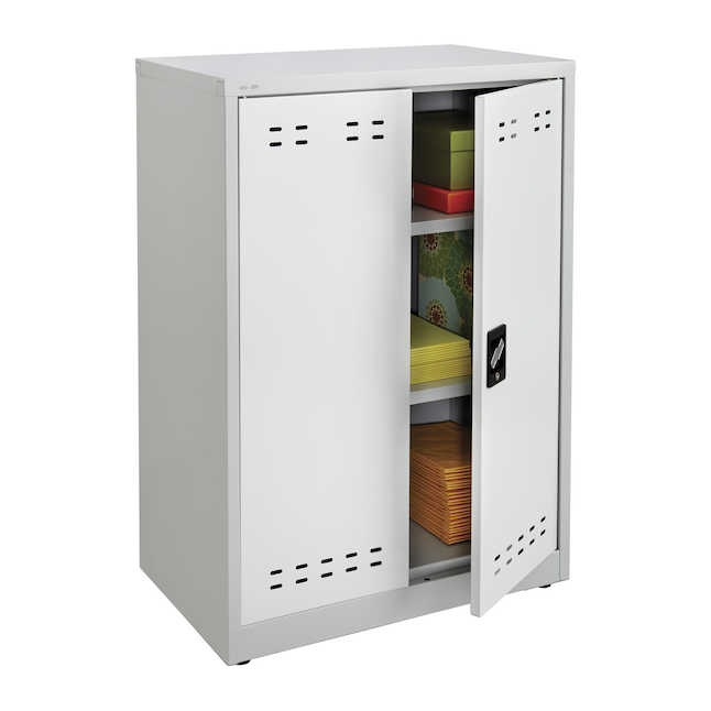 """safco 42""""h steel storage cabinet in gray"""