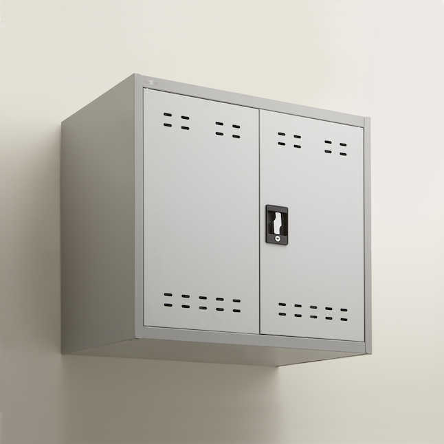 safco mountable storage cabinet mounted on wall