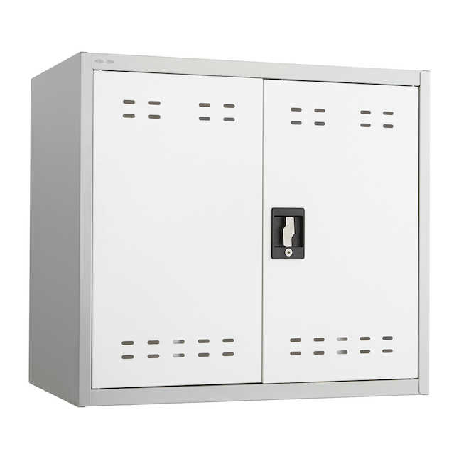 safco wall mountable storage cabinet in gray