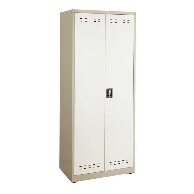 """safco 72""""h steel storage cabinet in tan"""