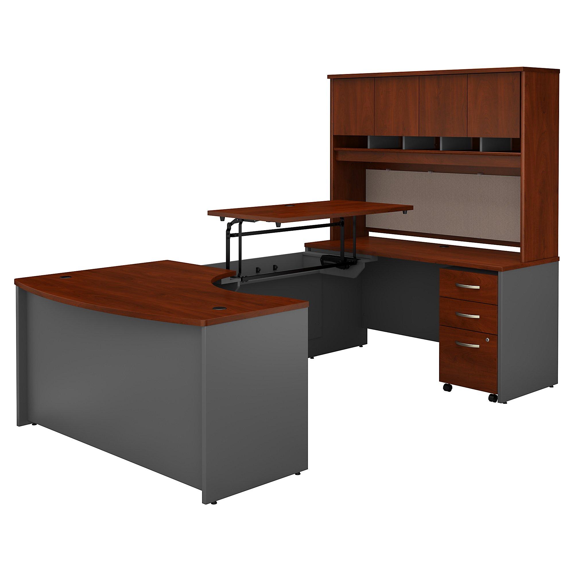 bbf sr122 u shaped desk with hansen cherry finish