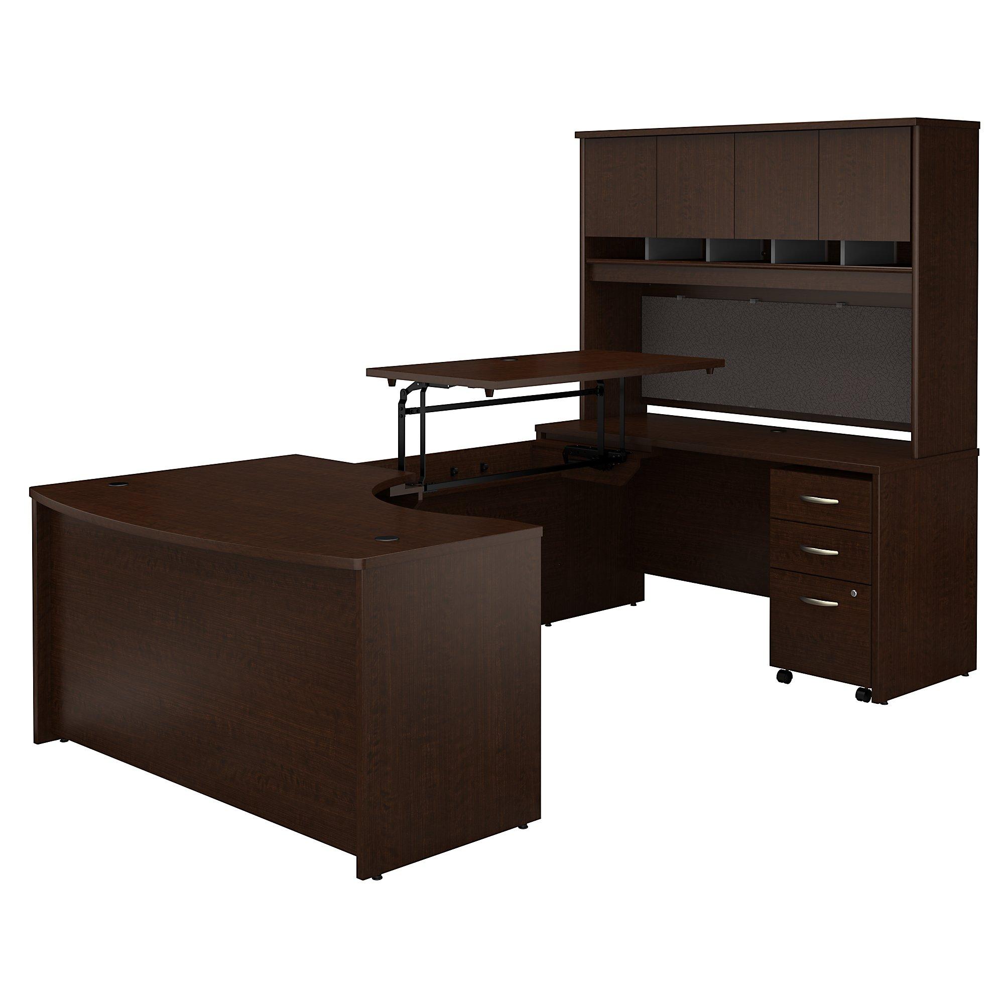 bbf src122 mocha cherry u desk with sit to stand bridge