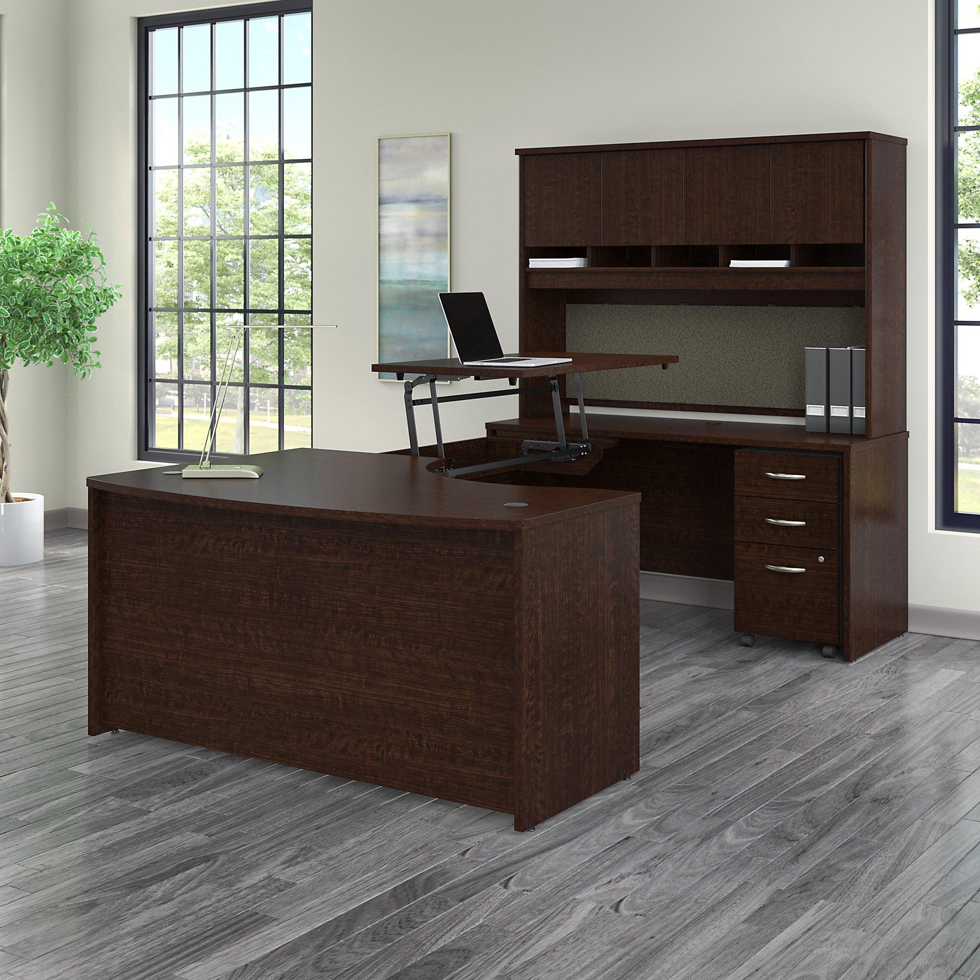 bbf src122 ergonomic u desk with sit to stand bridge
