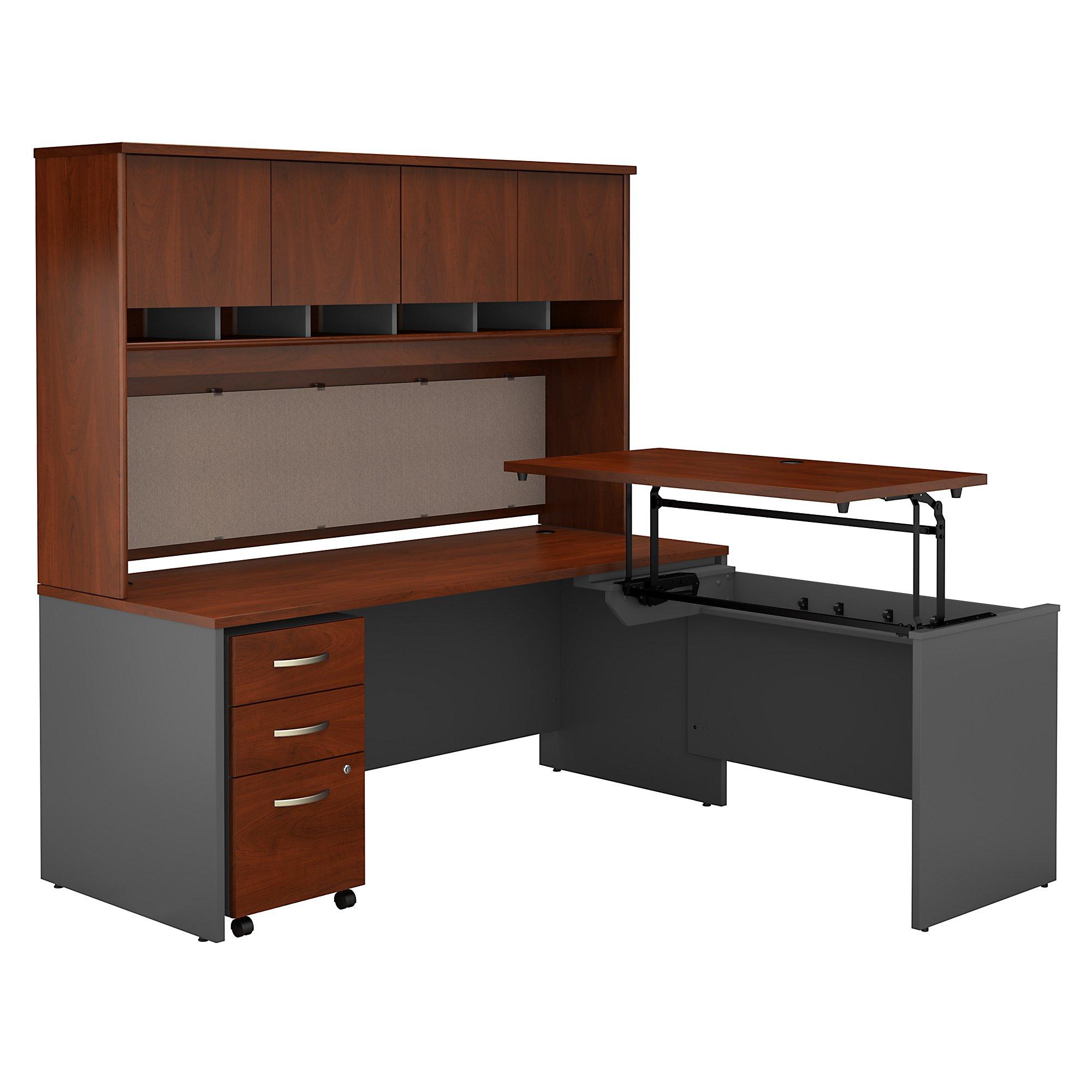 bbf series c l shaped desk with hutch in hansen cherry