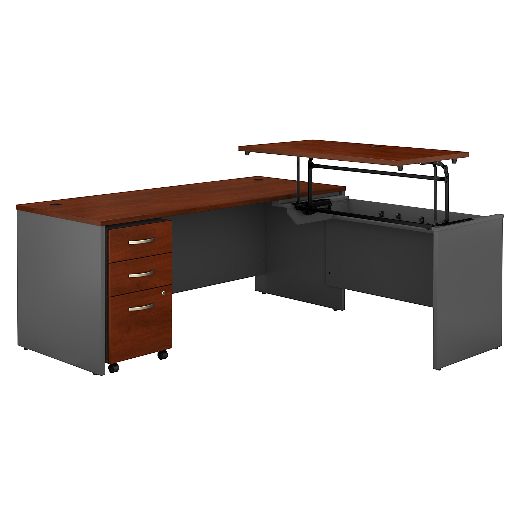 src125 series c sit to stand l desk with hansen cherry finish