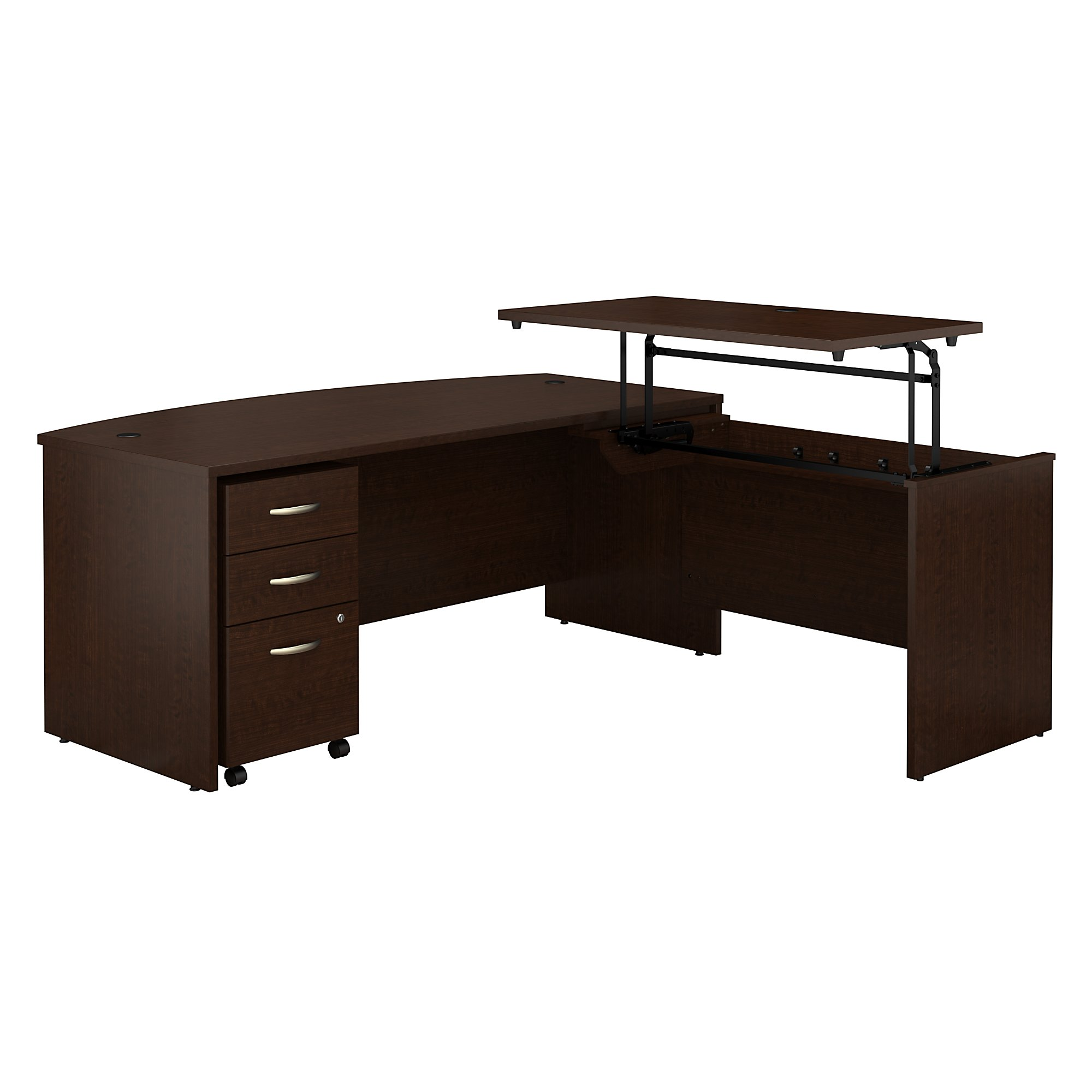 src126 bush business furniture sit-to-stand l desk with mocha cherry finish