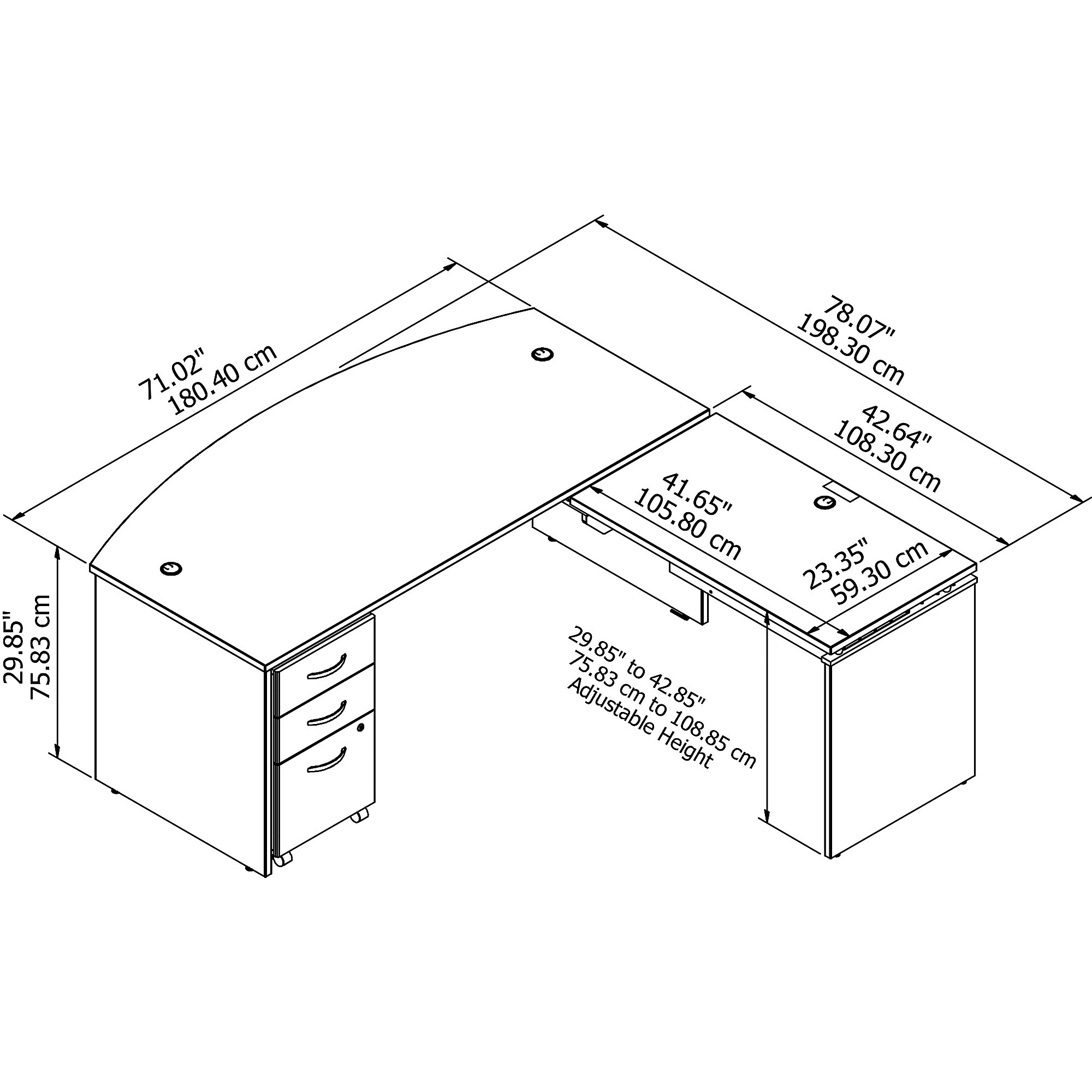 src126 series c desk dimensions