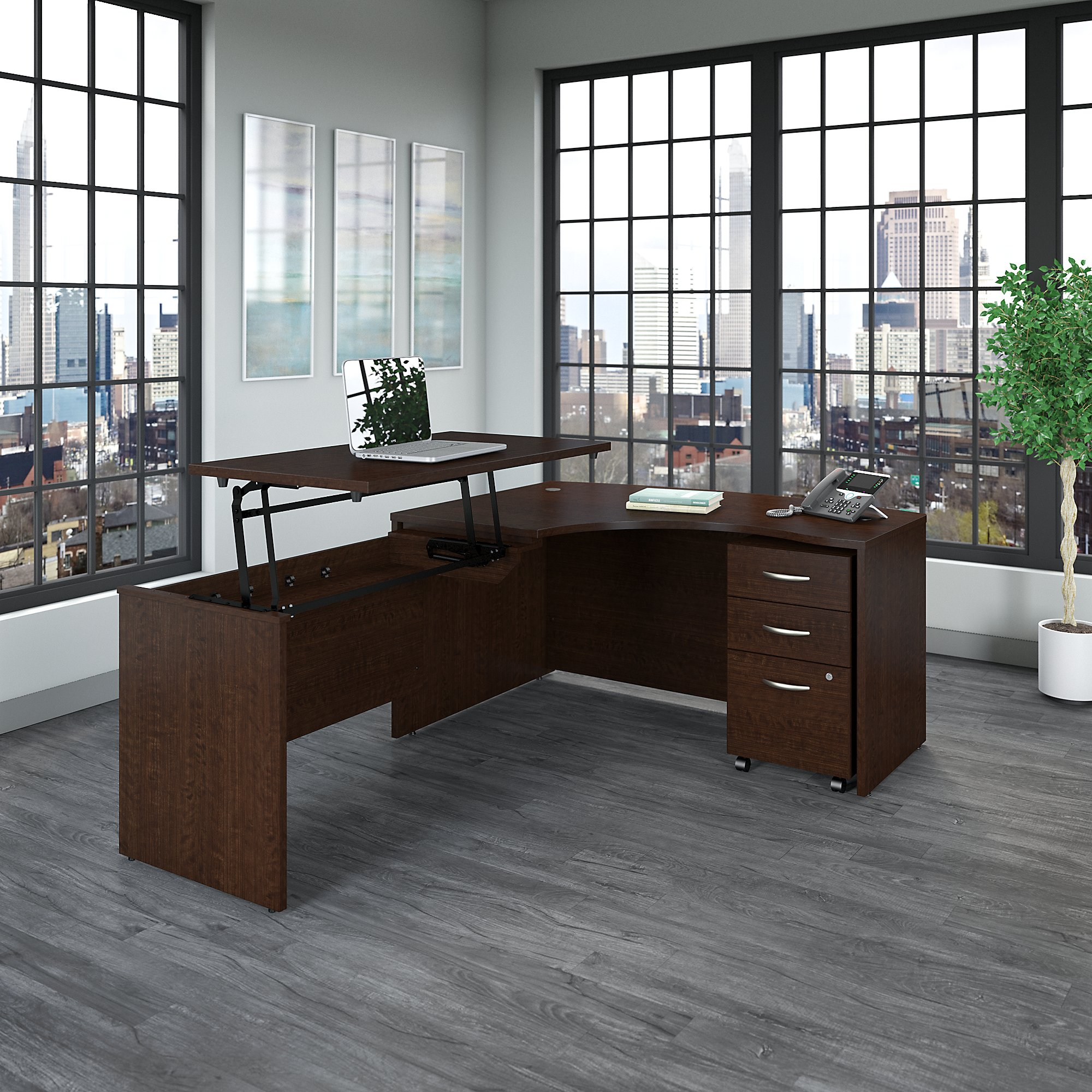 bush business furniture series c left hand bow front desk with sit to stand return