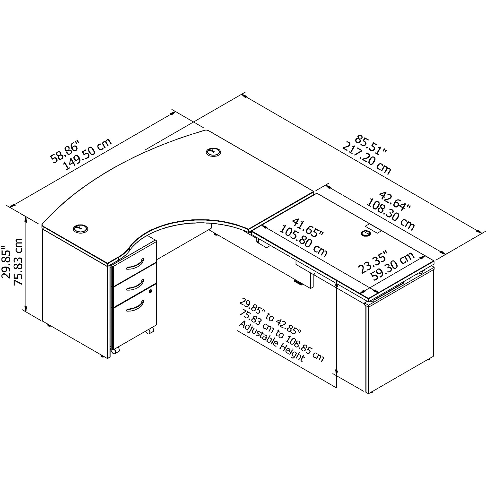 src128 series c desk dimensions