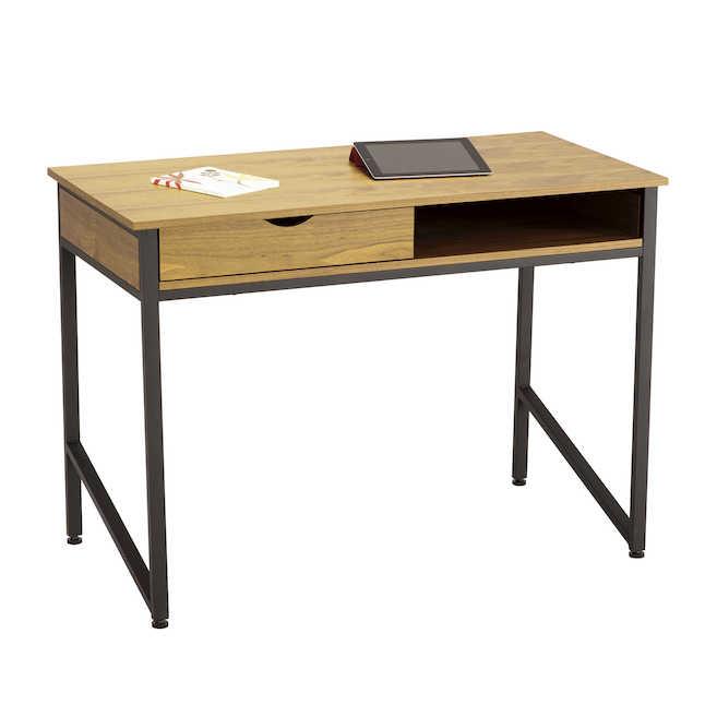 safco single drawer desk with black frame and veneer top
