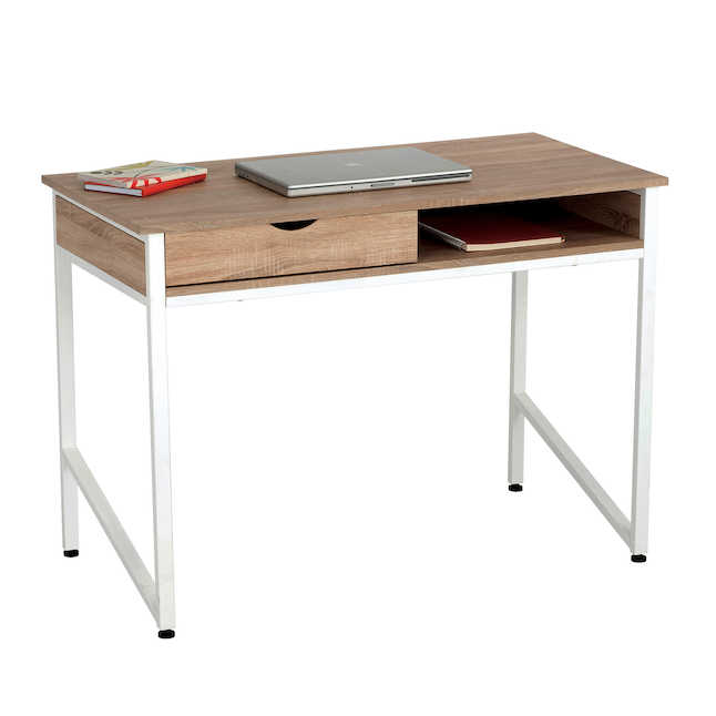 safco single drawer desk with white frame and laminate top