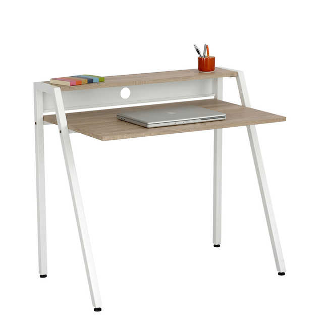 safco small modern writing desk with white frame and laminate top