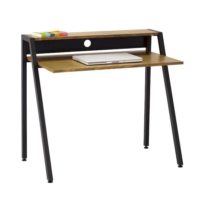 safco small modern writing desk with black frame and veneer top