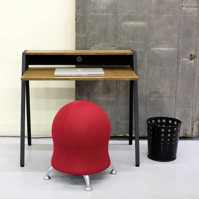 safco writing desk with active stool and accessories