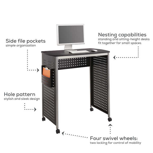 safco scoot standing height desk features