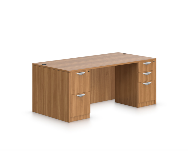 offices to go sl-q double pedestal desk with walnut finish