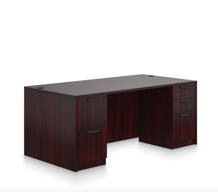offices to go sl-q double pedestal desk with mahogany finish