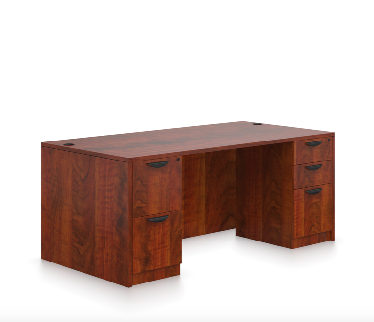 offices to go sl-q double pedestal desk with dark cherry finish