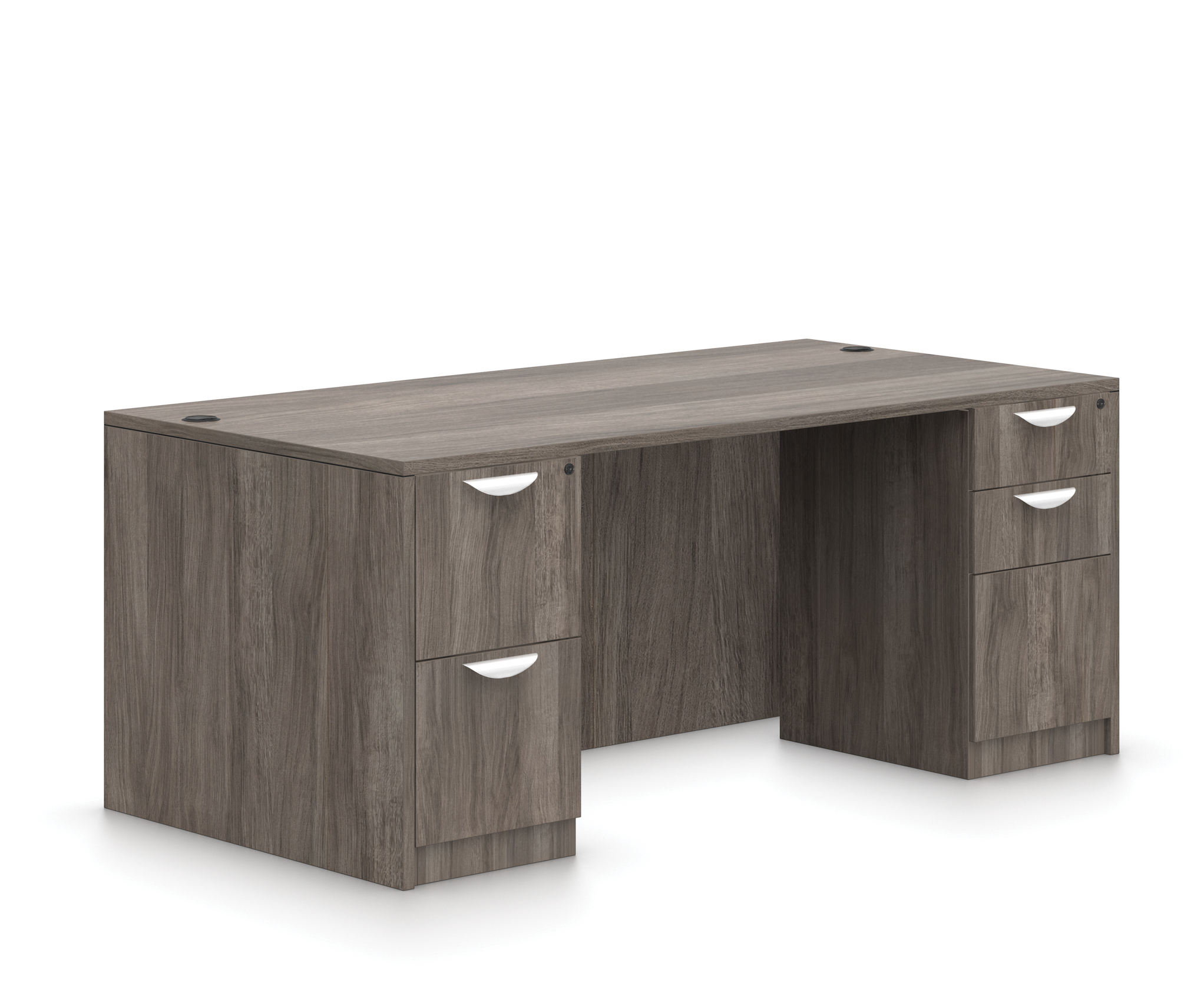 offices to go gray double pedestal desk sl-q