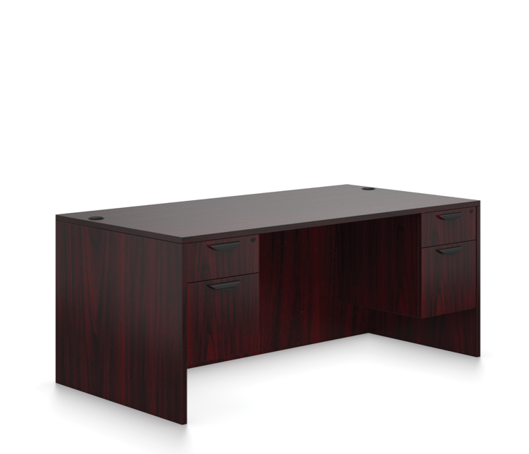offices to go sl-r desk with mahogany finish