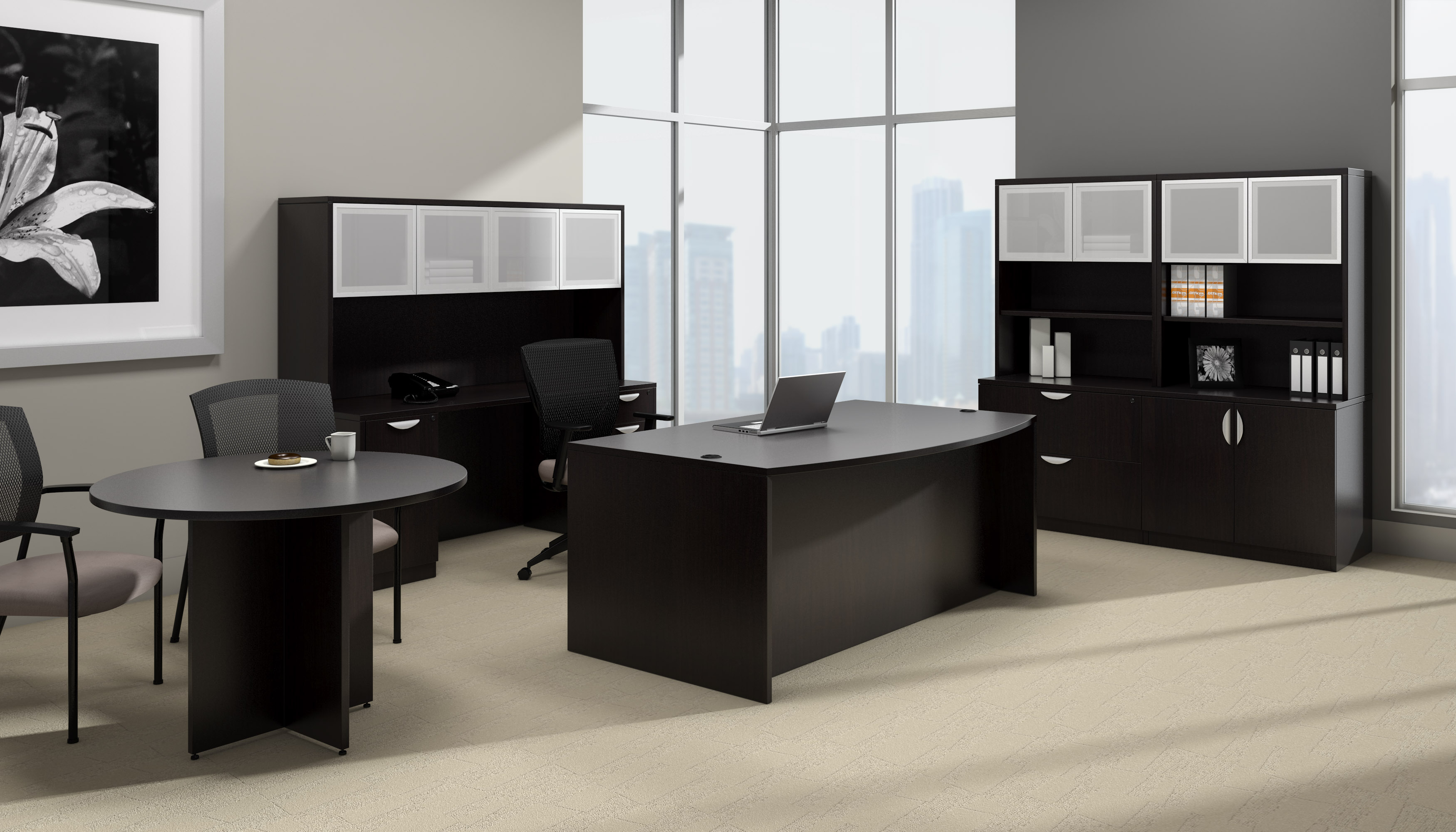 offices to go superior laminate complete executive furniture set with espresso finish