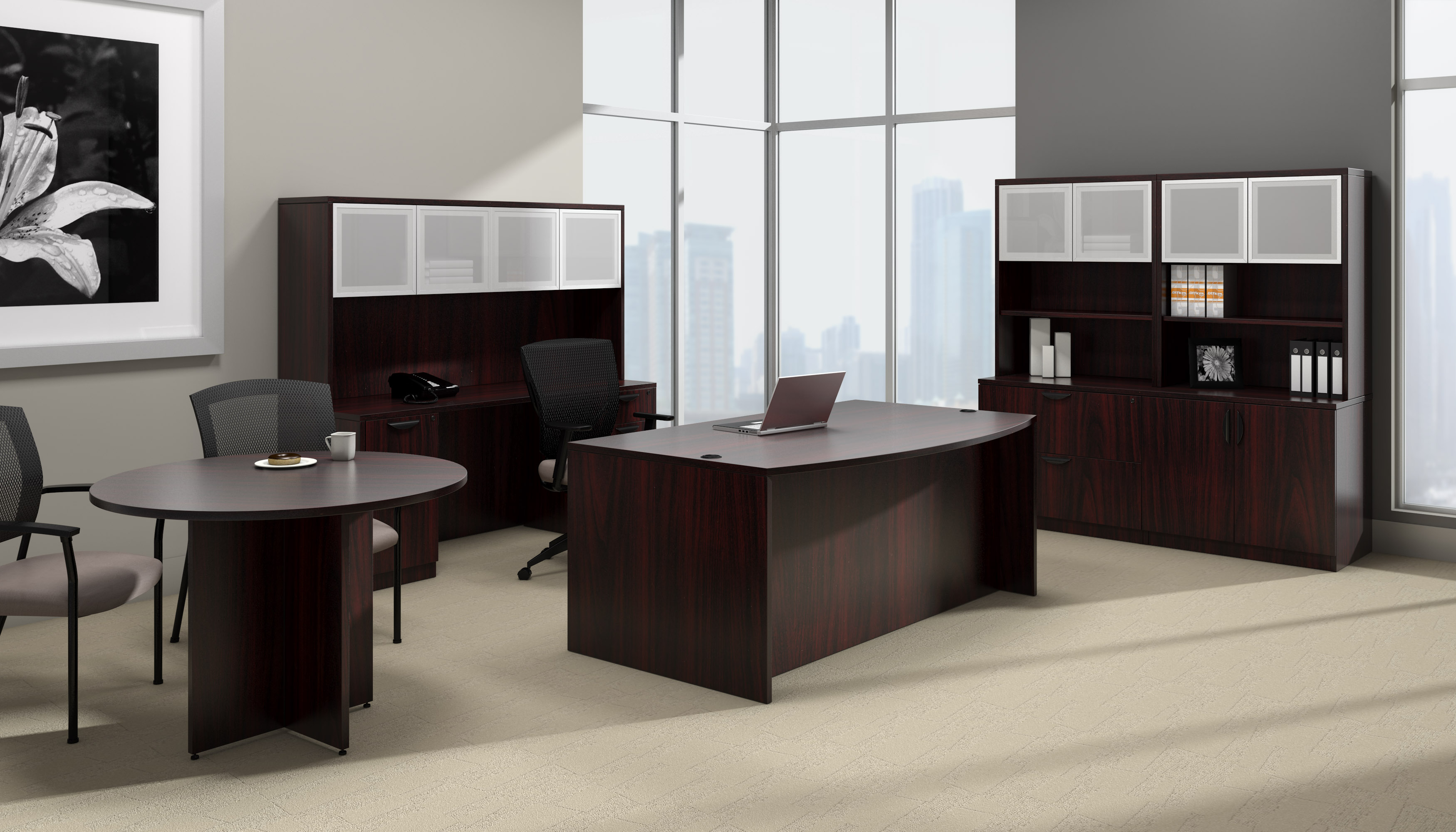 offices to go superior laminate complete executive furniture set with mahogany finish