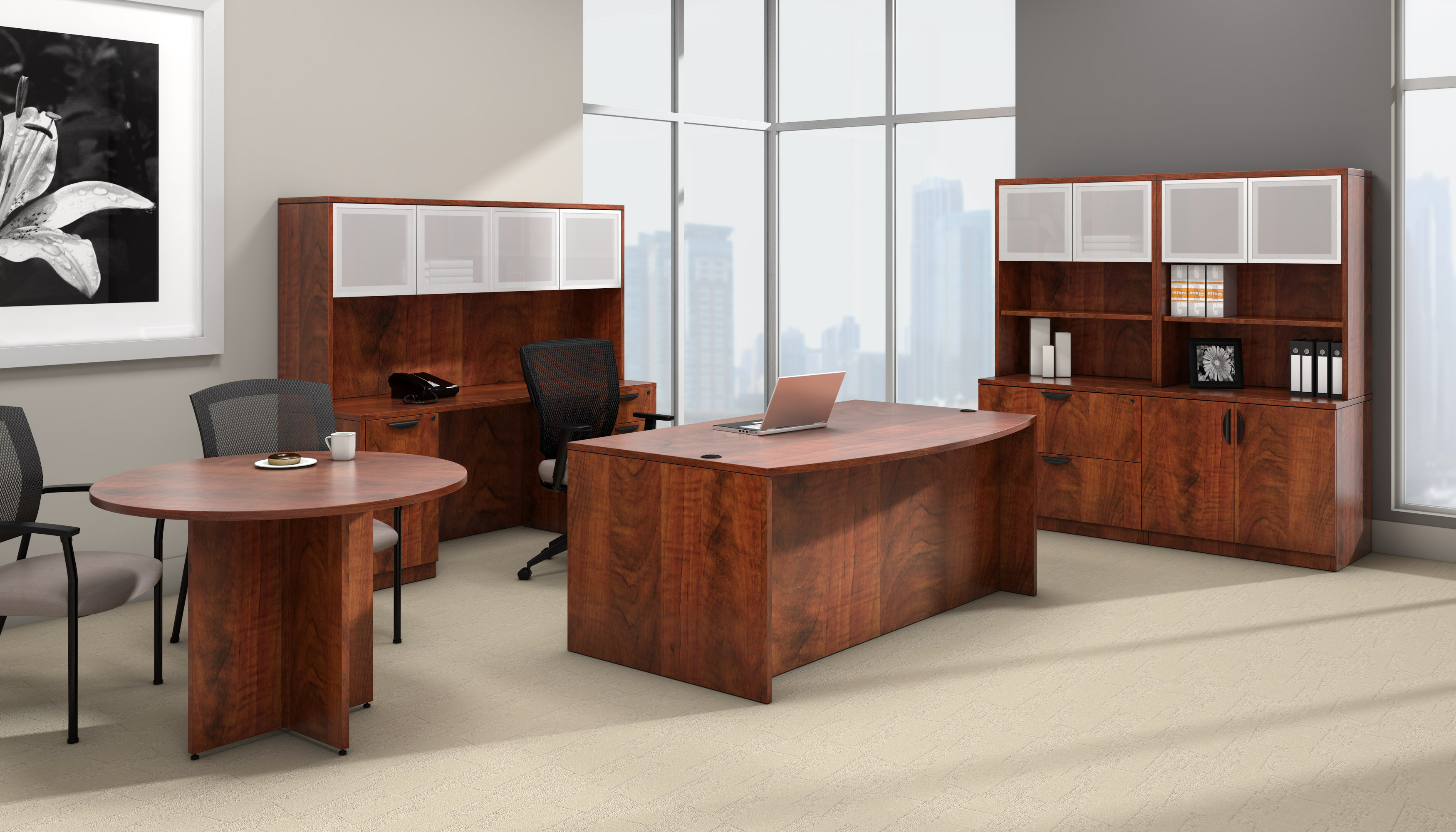 offices to go superior laminate complete executive furniture set with dark cherry finish