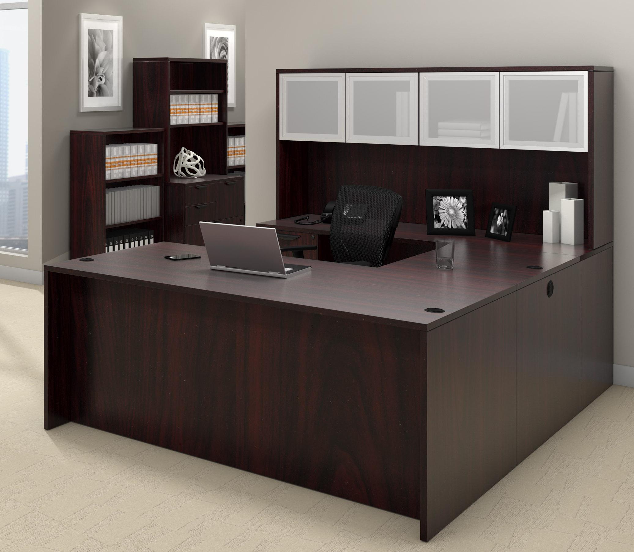 offices to go superior laminate u-shaped workstation with mahogany finish