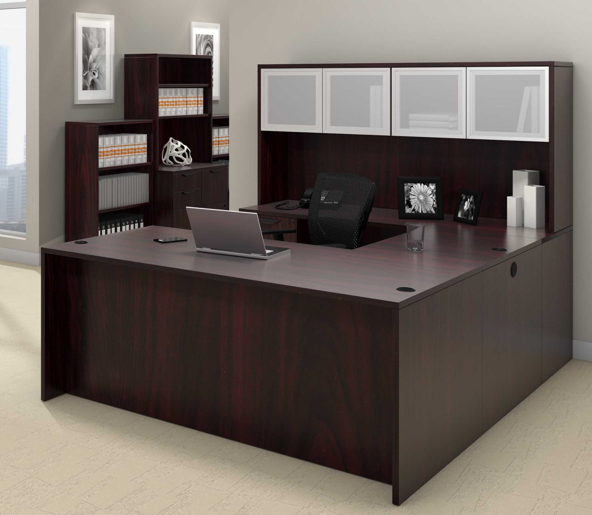 offices to go superior laminate u-shaped workstation with mahogany finish