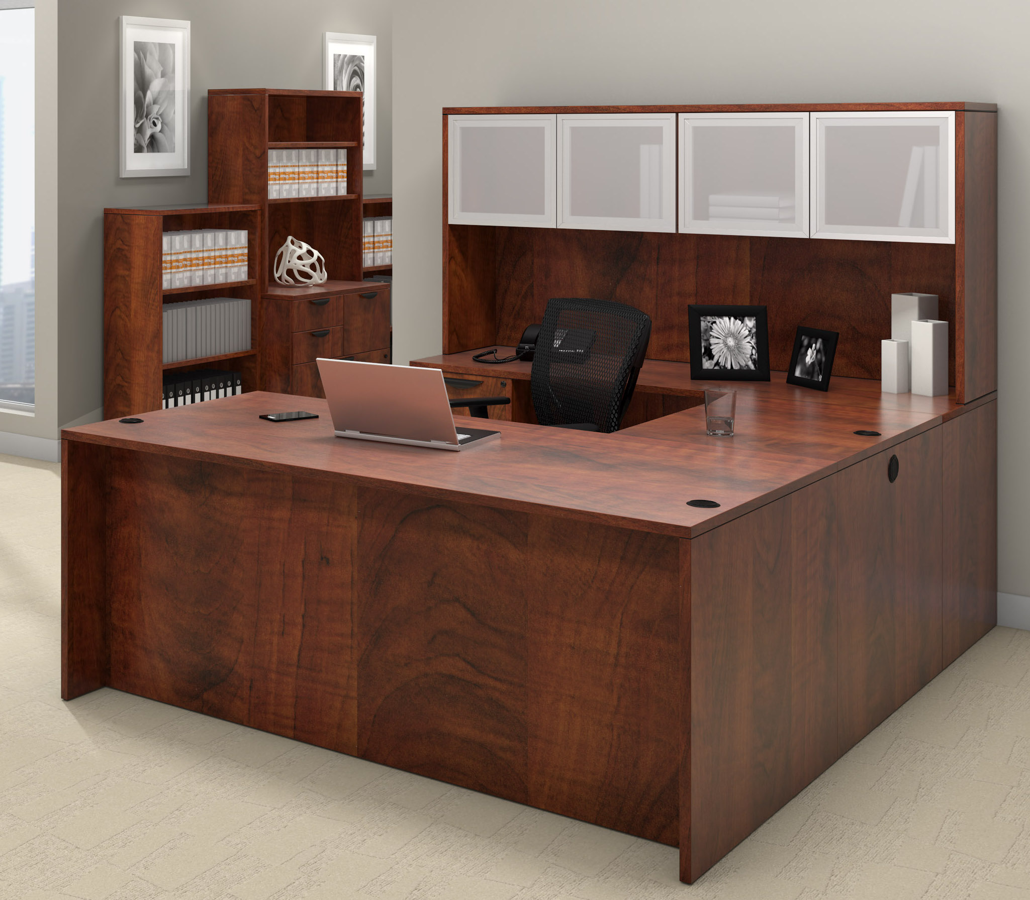 offices to go superior laminate u-shaped workstation with dark cherry finish
