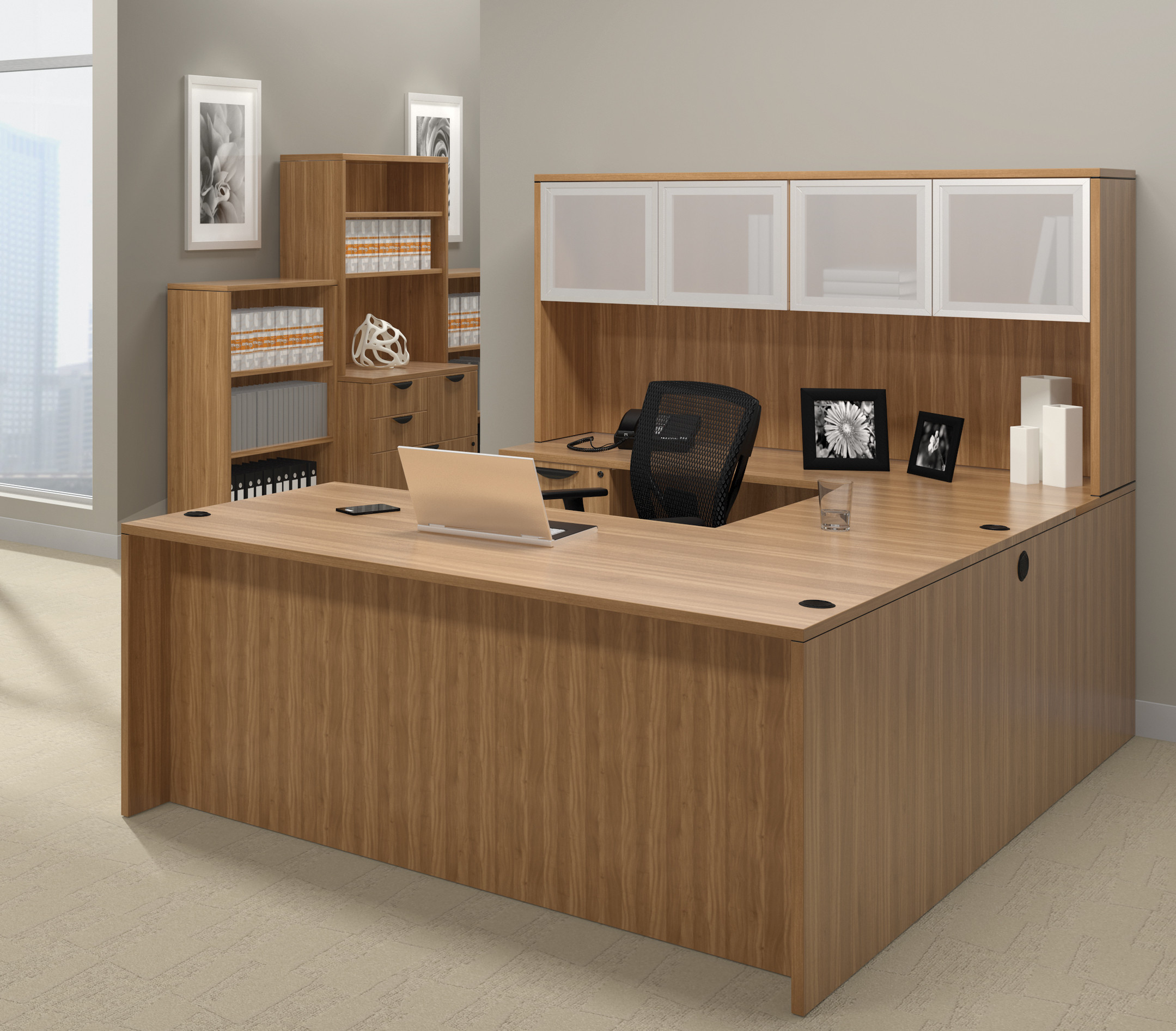 offices to go superior laminate u-shaped workstation with walnut finish