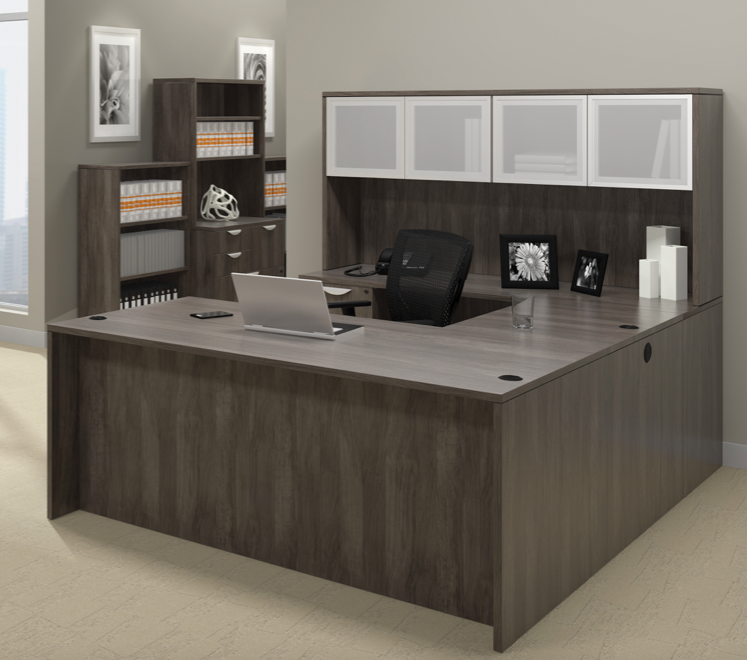 offices to go superior laminate u-shaped workstation with artisan gray finish