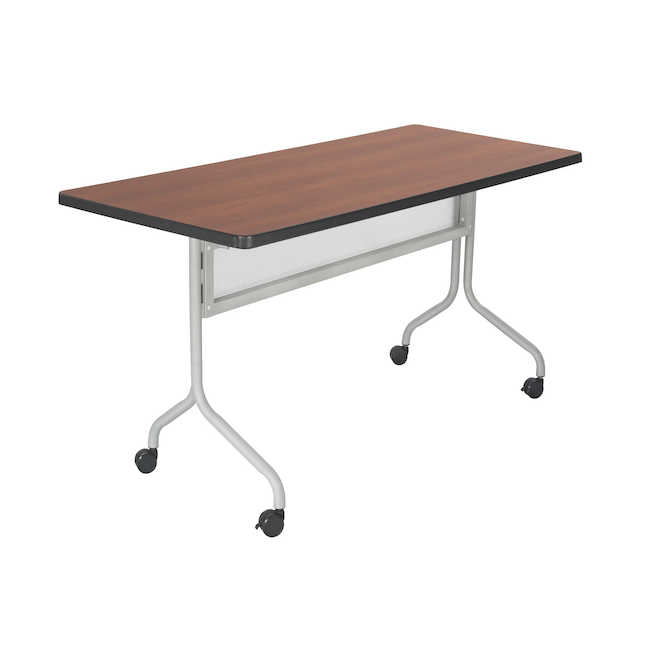 safco 48 x 24 impromptu flip top table with cherry finish