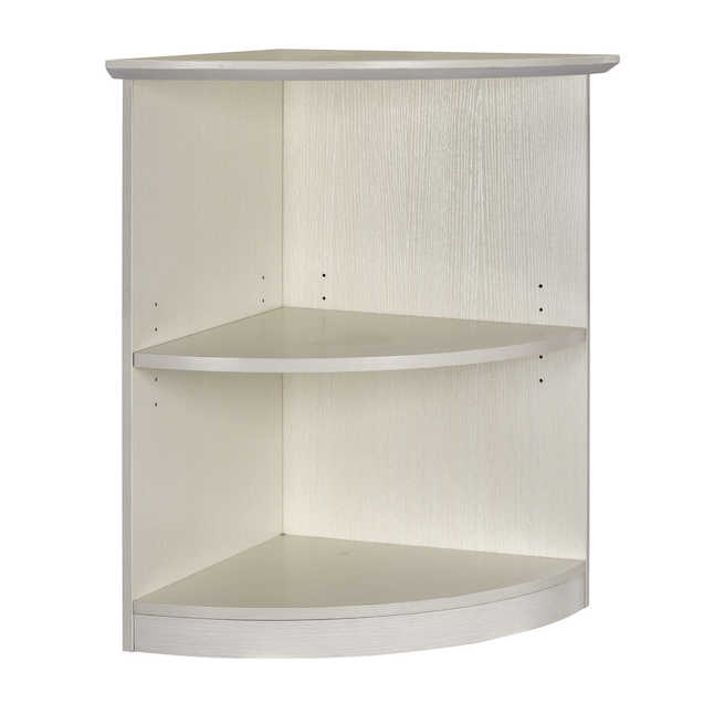medina quarter round bookcase with sea salt finish