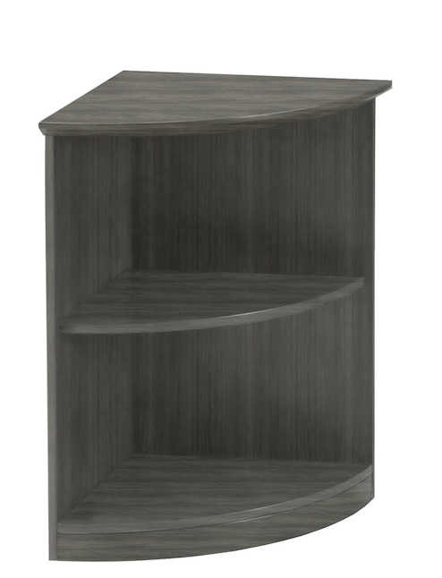 medina quarter round bookcase with gray finish