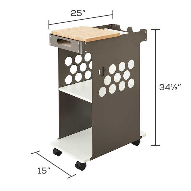 safco mini rolling storage cart dimensions