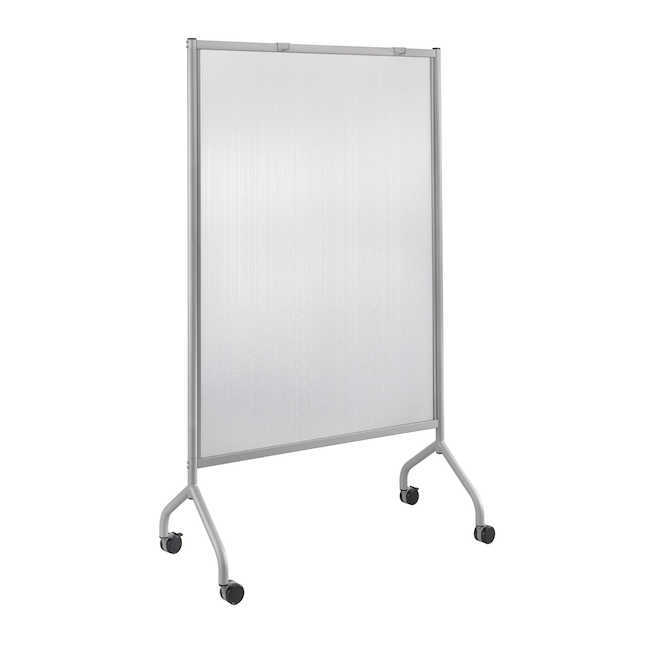 "safco impromptu 42"" x 72"" polycarbonate screen in silver"