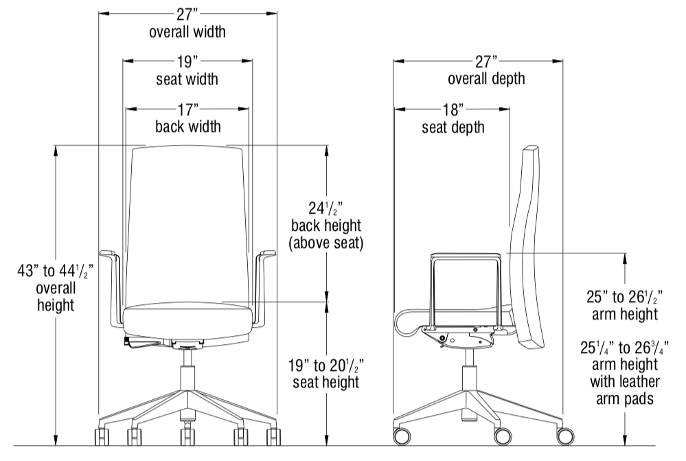 voyant conference chair dimensions