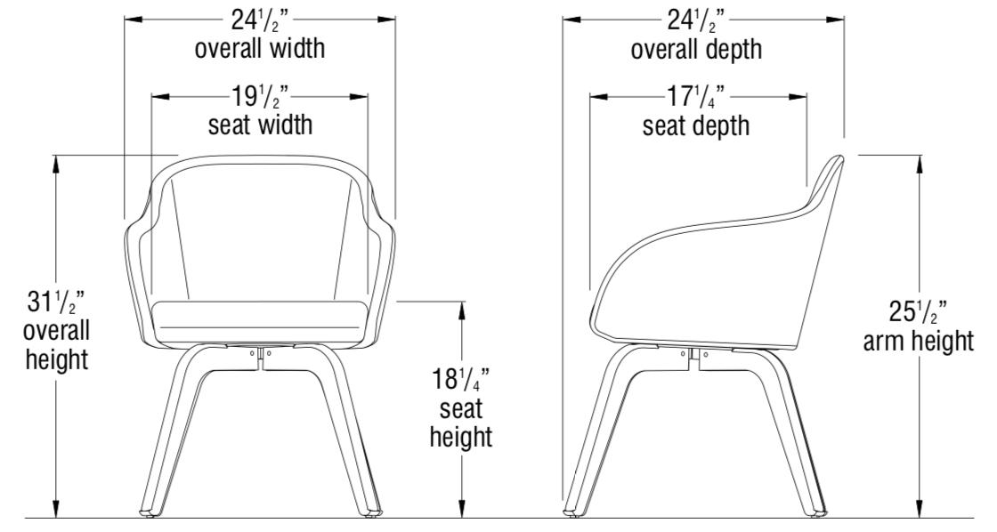 calida wood leg chair dimensions