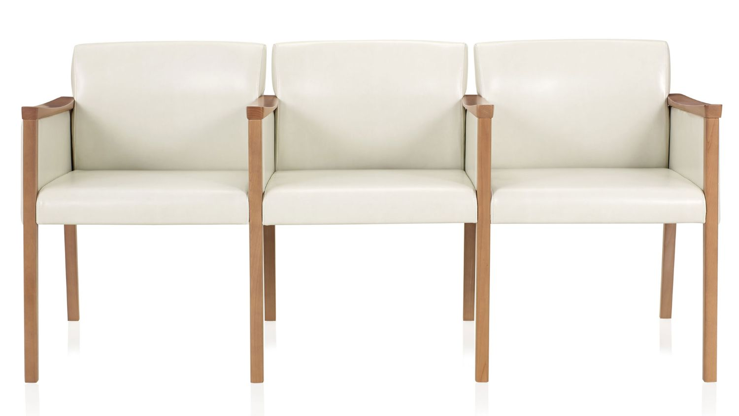 ki affina 3 person wood and leather guest reception bench